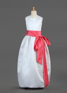 De baile Longos Vestidos de Menina das Flores - Cetim Sem magas Decote redondo com Cintos/Curvado (010002144)
