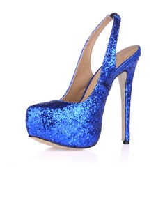 Women's Sparkling Glitter Stiletto Heel Pumps Platform Closed Toe shoes (085017466)