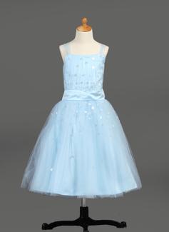 Vestidos princesa/ Formato A Comprimento médio Vestidos de Menina das Flores - Cetim/Tule Sem magas com Pregueado/lantejoulas (010005913)