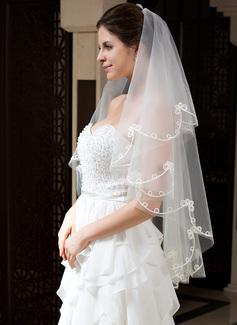 Uno capa Velos de novia vals con Corte de borde (006035777)