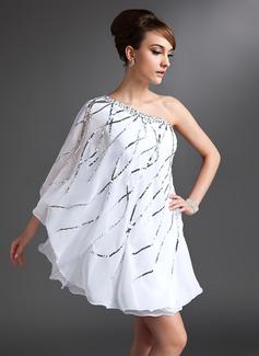 Платье-чехол Одно плечо Мини-платье шифон Коктейльные Платье с развальцовка блестки (016021153)