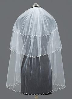 3 couches Voile de mariée longueur bout des doigts avec Bord perlé (006052976)