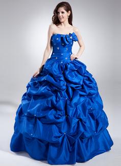 Tanssiaismekot Kullanmuru Lattiaa hipova pituus Tafti Quinceanera mekko jossa Rypytys Helmikuvoinnit (021015830)