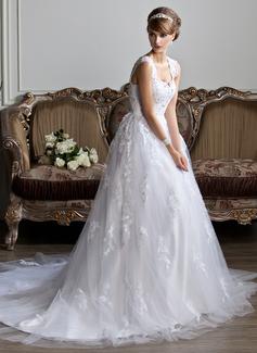 Duchesse-Linie V-Ausschnitt Kapelle-schleppe Tüll Brautkleid mit Perlen verziert Applikationen Spitze (002011394)