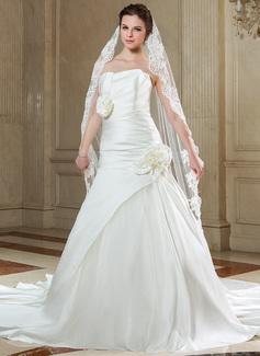 Uma camada Véus de noivas capela com Borda com aplicação de renda (006040681)