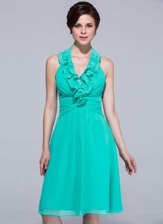 A-linjainen/Prinsessa Niskalenkillä Polvipituinen Sifonki Morsiusneitojen mekko jossa Laskeutuva röyhelö (007037237)
