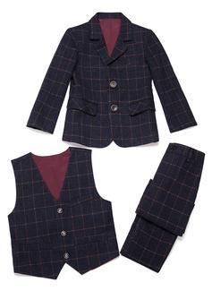 Rapazes 3 peças Xadrez Roupas de Pajem /Ternos Menino Página com Jaqueta Oeste calça (287199767)