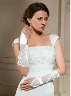 Elastic Satin Elbow Length Bridal Gloves (014024479)