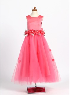 A-Line/Princess Ankle-length Flower Girl Dress - Satin/Tulle Sleeveless Scoop Neck With Beading/Flower(s)/Bow(s) (010007307)