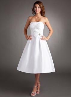 Vestidos princesa/ Formato A Coração Comprimento médio Tafetá Vestido de boas vindas com Pregueado Pino flor crystal (022016364)