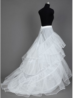 Women Nylon/Tulle Netting Cathedral Train 3 Tiers Petticoats (037031003)