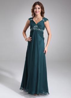 Império Decote V Longos Tecido de seda Vestido para madrinha grávida com Pregueado Renda Beading (045022468)