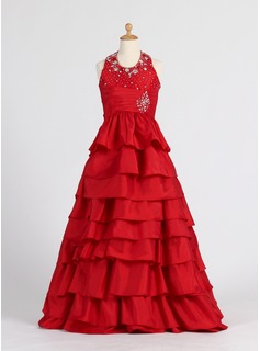 A-Line/Princess Floor-length Flower Girl Dress - Taffeta Sleeveless Halter With Ruffles/Beading (010007406)