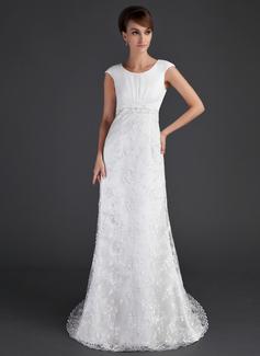 Sheath/Column Scoop Neck Court Train Lace Wedding Dress With Ruffle Beading (002001630)