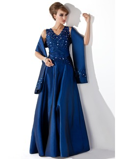 A-linjainen/Prinsessa V-kaula-aukko Lattiaa hipova pituus Tafti Morsiamen äiti-mekko jossa Pitsi Helmikoristelu Paljetit (008013955)