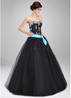 De baile Coração Longos Tule Vestido quinceanera com Cintos Bordado Apliques de Renda (021004714)