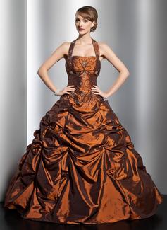 De baile Cabresto Longos Tafetá Vestido quinceanera com Pregueado Bordado (021014753)