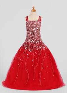 Платье для Балла Длина до пола Нарядные платья для девочек - Атлас/Тюль Без Рукавов погоны с блестки (010007306)