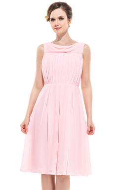 A-Line/Princess Cowl Neck Knee-Length Chiffon Bridesmaid Dress With Ruffle (007050349)