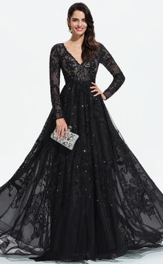 Платье Для Балла/Принцесса V-образный Sweep/Щетка поезд Тюль Вечерние Платье с Кружева блестки (017196081)