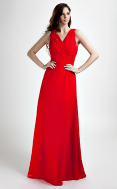 A-Line/Princess V-neck Floor-Length Chiffon Bridesmaid Dress With Ruffle (007020746)