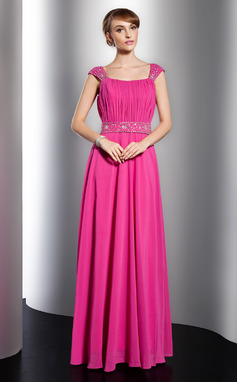 Vestidos princesa/ Formato A Decote redondo Longos De chiffon Vestido de Férias com Pregueado Bordado (020014751)