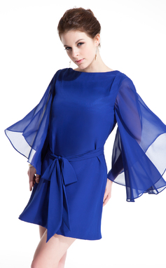 Vestidos princesa/ Formato A Decote redondo Curto/Mini De chiffon Vestido de cocktail com Cintos (016021215)