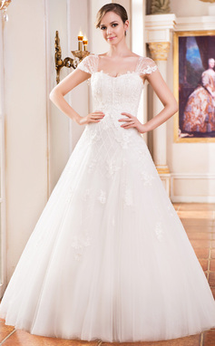Ball-Gown Sweetheart Floor-Length Tulle Wedding Dress With Lace Beading Sequins (002051614)