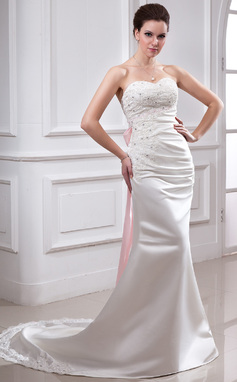 Trumpet/Mermaid Sweetheart Chapel Train Satin Wedding Dress With Ruffle Lace Sash Beading Bow(s) (002011729)
