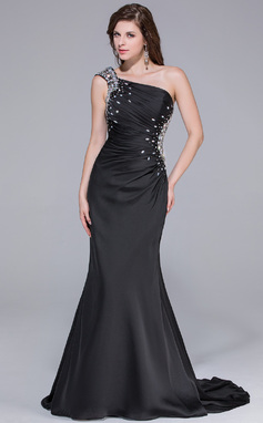 Trumpet/Mermaid One-Shoulder Watteau Train Satin Chiffon Prom Dress With Ruffle Beading (018025651)