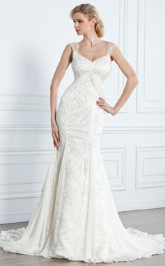 Trumpet/Mermaid V-neck Court Train Chiffon Lace Wedding Dress With Beading (002005314)
