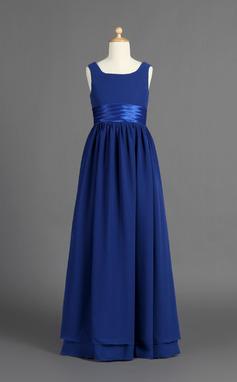 A-Line/Princess Floor-length Flower Girl Dress - Chiffon/Charmeuse Sleeveless Scoop Neck With Ruffles (010007386)