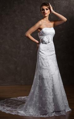 Vestidos princesa/ Formato A Coração Cauda de sereia Renda Vestido de noiva com Bordado fecho de correr (002011635)