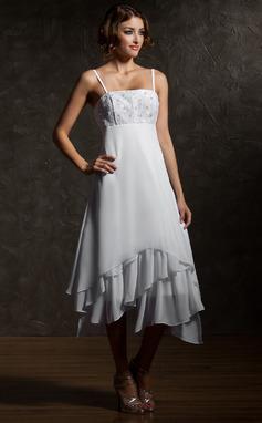 Corte imperial Asimétrico Chifón Vestido de novia con Encaje Cascada de volantes (002000024)