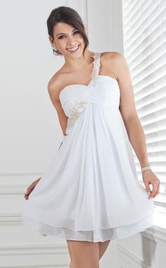 Império Um ombro Curto/Mini De chiffon Vestido de boas vindas com Pregueado Bordado Apliques de Renda (022020691)