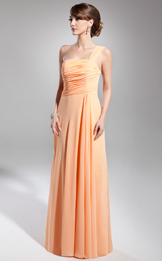 Vestidos princesa/ Formato A Um ombro Longos De chiffon Vestido de Férias com Pregueado (020014706)
