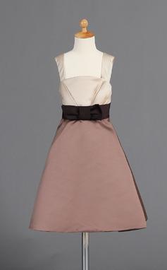 A-Lijn/Prinses Knie-Lengte Bloemenmeisjesjurken - Satijn Mouwloos schouderbanden met Strik(ken) (010008026)
