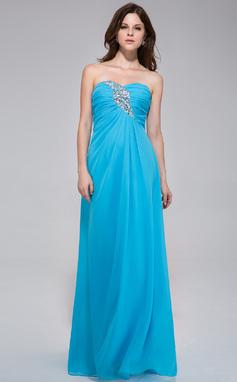 Vestidos princesa/ Formato A Coração Longos De chiffon Vestido de festa com Pregueado Bordado (022027060)
