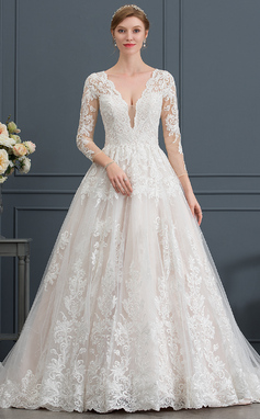 Платье для Балла/Принцесса V-образный Церковный шлейф Тюль Свадебные Платье (002171944)