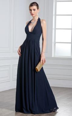 Vestidos princesa/ Formato A Cabresto Longos De chiffon Vestido de festa com Pregueado (017020328)