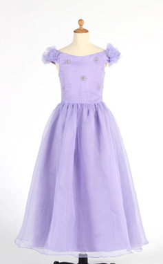 A-Line/Princess Ankle-length Flower Girl Dress - Organza Short Sleeves Off-the-Shoulder With Beading/Flower(s) (010014653)