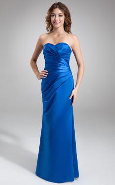 Sheath/Column Sweetheart Floor-Length Satin Bridesmaid Dress With Ruffle (007001881)