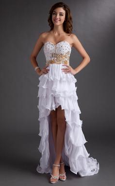 A-Line/Princess Sweetheart Asymmetrical Chiffon Prom Dress With Beading Sequins Cascading Ruffles (018016758)