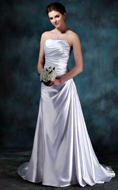 A-Line/Princess Strapless Sweep Train Charmeuse Wedding Dress With Ruffle (002012060)