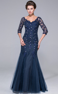 Trumpet/Mermaid V-neck Floor-Length Tulle Mother of the Bride Dress With Lace Beading (008025726)