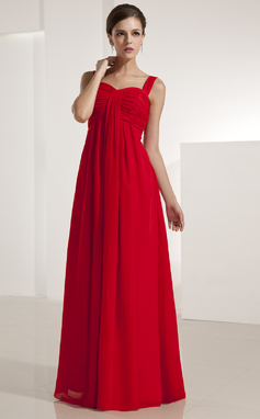 Império Coração Longos De chiffon Vestido de madrinha com Pregueado (007051845)