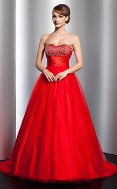 Платье для Балла В виде сердца Sweep/Щетка поезд Тюль Пышное платье с Рябь Бисер (021020796)