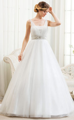 Ball-Gown V-neck Court Train Tulle Wedding Dress With Beading Appliques Lace Sequins (002054361)