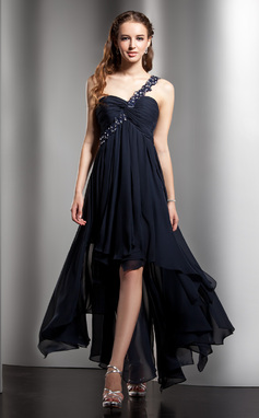 Empire One-Shoulder Asymmetrical Chiffon Homecoming Dress With Beading Appliques Lace Cascading Ruffles (022008972)