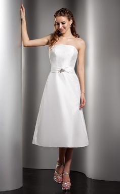 A-Lijn/Prinses Strapless Thee lengte Taft Bruidsmeisjes Jurk met Roes Kraalwerk (007001078)